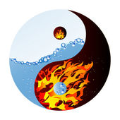Fire and water - abstract vector illustration