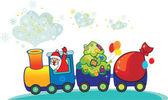 Babbo Natale felice il treno di Natale. cartolina di natale anno nuovo inverno