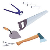 A selection of common tools used for construction and repair