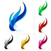 Set of fire isolated on a white background for design
