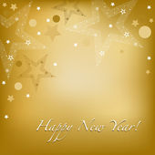 Happy New Year Background With Stars And Text Vector Illustration
