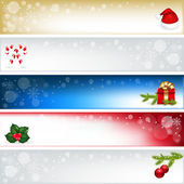 5 Christmas Headers With Cap Of Santa Claus Branch Ate With Spheres Gift And Sugar Candies Vector Illustration