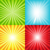 4 Bright Sunburst Background With Beams And Stars Vector Illustration