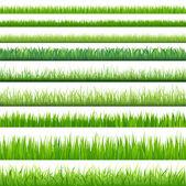 9 sfondi di erba verde, isolato su sfondo bianco, vettoriale illustrazione