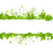 Green Leafs And Grass Isolated On White Background Vector Illustration