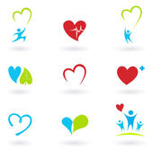 Collection of medical icons and symbols isolated on white