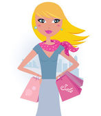 Blond woman on shopping Vector Illustration