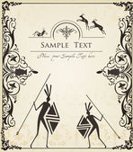 Ancient African symbols vector background for poster