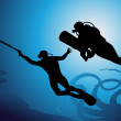 thumbnail of Colorful scuba diver vector illustration