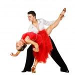 Постер, плакат: Latino dancers in action Isolated on white