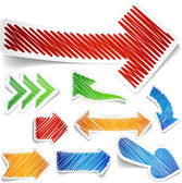 Scribbled color arrows set.