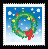 Christmas stamp with illustrations of christmas wreath