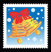 Christmas stamp with illustrations of christmas bell