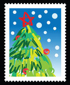 Christmas stamp with illustrations of christmas tree