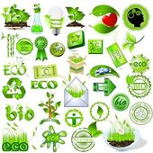 Detailed nature icons collection eco and bio message