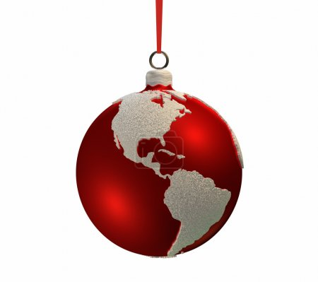 Постер, плакат: Christmas Bulb With Continents Americas, холст на подрамнике