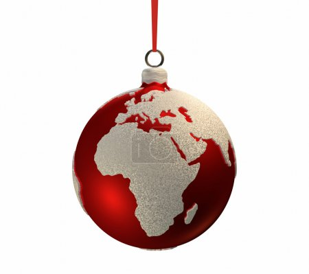 Постер, плакат: Christmas Bulb With Continents Europe and Africa, холст на подрамнике