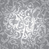 Abstract seamless silver floral background vector illustration