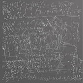 Green school board with chaotic mathematical formulas