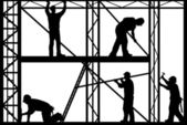 Construction workers silhouette isolated on white background