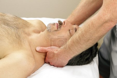 man getting neck massage