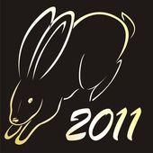 Silhouette of  rabbit simbol of 2011 year