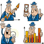 Business Cartoons mit lustiger Mann