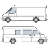 Side View of whire minibus Vector Illustration