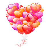 Colorful Heart Shaped Balloons on white background