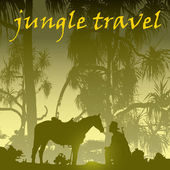 Jungle tree tropic man and horse on the background