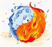 Symbol yin and yang Harmony of water and fire the man and the woman