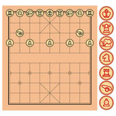 Chinese Chess Xiangqi from top view with simple artwork that represent each unit