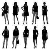 A set of woman models doing fashion