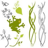 An image of a frog leaf and stem design elements