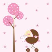 Cute pink baby girl in stroller