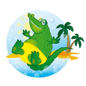Vector cartoon Illustration Crocodile Sunny