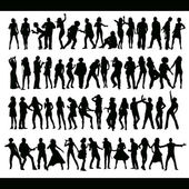 Vector dancing and singing peoples silhouettes hand-made