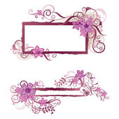 Pink floral frame and banner design This image is a vector illustration
