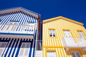 Typical colored houses made of wood, Aveiro, Portugal