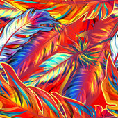 Exotic feather Vector seamless bright texture