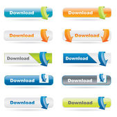 A collection of download buttons with arrows in different color variations