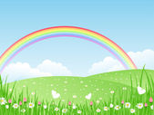 Beautiful summer landscape with rainbow Vector illustration