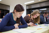 Pretty female college student sitting an exam in a classroom ful