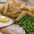 thumbnail of Gammon Steak Fried Egg Peas and Chips