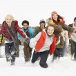thumbnail of Group Of Teenage Friends Having Fun In Snowy Landscape