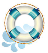 Blue life buoy with wave