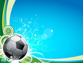 A soccer sport ball on a blue and green background with floral lines and swirls Great for a sport card or postcard