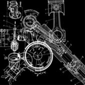 Technical drawing or blueprint on black background