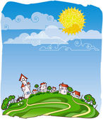 Vector card with sunny summer landscape