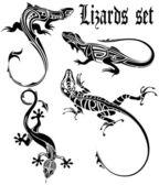 Sada tetování ještěrky